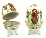 "Porcelain  Open Up Egg or Jewelry Box ""Matreshka"""