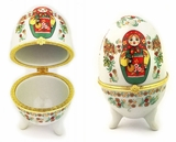 "Porcelain  Open Up Egg or Jewelry Box ""Matreshka"", Small"