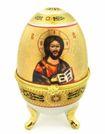 Porcelain  Open Up Egg with  Icon of Christ The Teacher