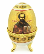 Porcelain  Open Up Egg with  Icon of St. Nicholas