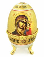 Porcelain  Open Up Egg with  Icon of Virgin of Kazan
