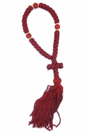 35 Flush Knot Red Prayer Rope from Greece, 8 1/2""