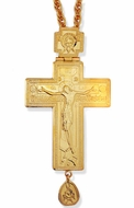 Priest Pectoral Large Cross With Chain, Gold Gilded
