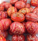 Red and Orange Colors Ukrainian Pysanky Wooden Eggs, Set of 6