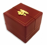 Red Faux Leather Jewelry Box, Cartier Style