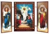 Resurrection of Christ / Archangels Michael and Gabriel, Mini Triptych