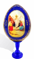 Resurrection of Christ, Decoupage Icon Egg with Stand, Blue
