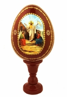 Resurrection of Christ, Decoupage Icon Egg with Stand, Maroon