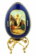Resurrection of Christ, Decoupage Wooden Icon Egg with Stand