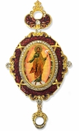 Resurrection of Christ, Enameled Jeweled Icon Ornament, Red