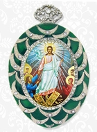 Resurrection of Christ, Framed Icon Ornament with Chain, Green