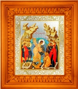 Resurrection of Christ,  Orthodox Christian Icon in Frame with Glass
