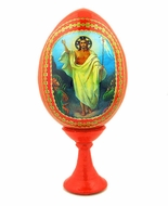 Resurrection of Christ, Red Easter Decoupage Icon Egg with Stand