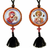 Reversible Beaded Icon of St Nicholas & Virgin Mary of Kazan on Rope w/Cross