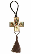 Reversible Cross with Wooden Micro  Icons   on Rope