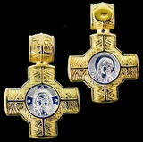 Reversible Engraved Small Cross:  Christ / Virgin Mary