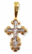 Reversible Orthodox Mini Cross with  Corpus Crucifix, Sterling Silver, Gold Plated