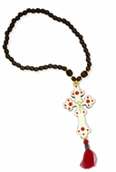Reversible Wooden Cross with Beads, Red  Tassel