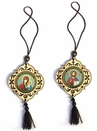 Reversible Wooden Icon Pendant On Rope