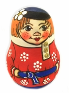 "Roly-Poly ""Boy"", Wooden Hand Painted Musical Russian Doll ""Nevalyashka"""