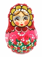 "Roly-Poly ""Girl"", Wooden Hand Painted Musical Russian Doll ""Nevalyashka"""