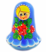 "Roly-Poly, Wooden Hand Painted Musical Russian Doll ""Nevalyashka"""