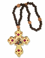Rosary Beads with Wooden Cross and  Icon of the Christ