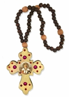 Rosary Beads with Wooden Cross and   St. Nicholas Icon