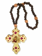 Rosary Beads with Wooden Cross and   Virgin of Kazan Icon
