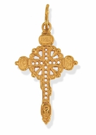 Russian Red Gold Orthodox Cross, 1 1/2""