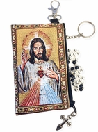 Sacred Heart of Jesus, Tapestry Holder for Rosary with Key Chain