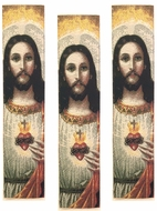 Sacred Heart of Jesus, Set of 3 Tapestry  Icon  Book Markers