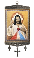 Sacred Heart of Jesus, Textile Art  Tapestry Icon Banner Large