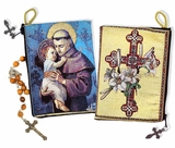 Saint Anthony with Child Jesus, Cross and Lilies, Rosary Pouch Case
