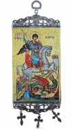 "Saint George, Tapestry Icon Banner, `10"" H"