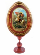 Saint George, Wooden Decoupage Icon Egg with Stand