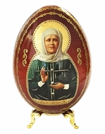 Saint Matrona, Wooden Decoupage Icon Egg with Stand