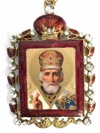 Saint Nicholas,  Enamel Framed Ornament Icon  with Chain & Bow