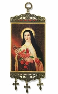"Saint Therese of Lisieux,  Tapestry Icon Banner, `10"" H"