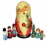 Santa Claus  Doll With  Wooden Christmas Tree Ornaments