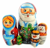 Santa Claus (Father Frost), 5 Nested Wooden Dolls