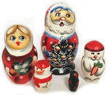 Santa Claus (Father Frost), 5 Nesting Wooden Dolls