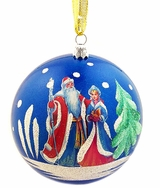 Santa -  Father Frost and Snow Maiden, Christmas  Ornament, Blue