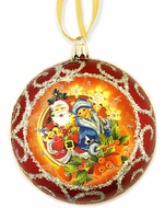 Santa -  Father Frost and Snow Maiden, Christmas  Ornament, Red