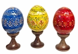 Set of 3 Pysanky Easter Wooden Eggs on Stand