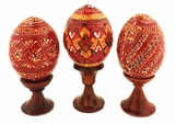 Set of 3 Red Pysanky Easter Wooden Eggs on Stand