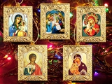 Set of 5 Orthodox Framed  Mini Icons with Stands
