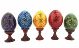Set of 5 Pysanky Easter Wooden Eggs on Stand
