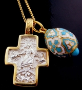 Set of  Gold Gilded Cross, Gold Plated Egg Pendant,  & Chain
