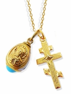 Set of Gold Plated Cross,  Gold Plated Egg Pendant and Chain